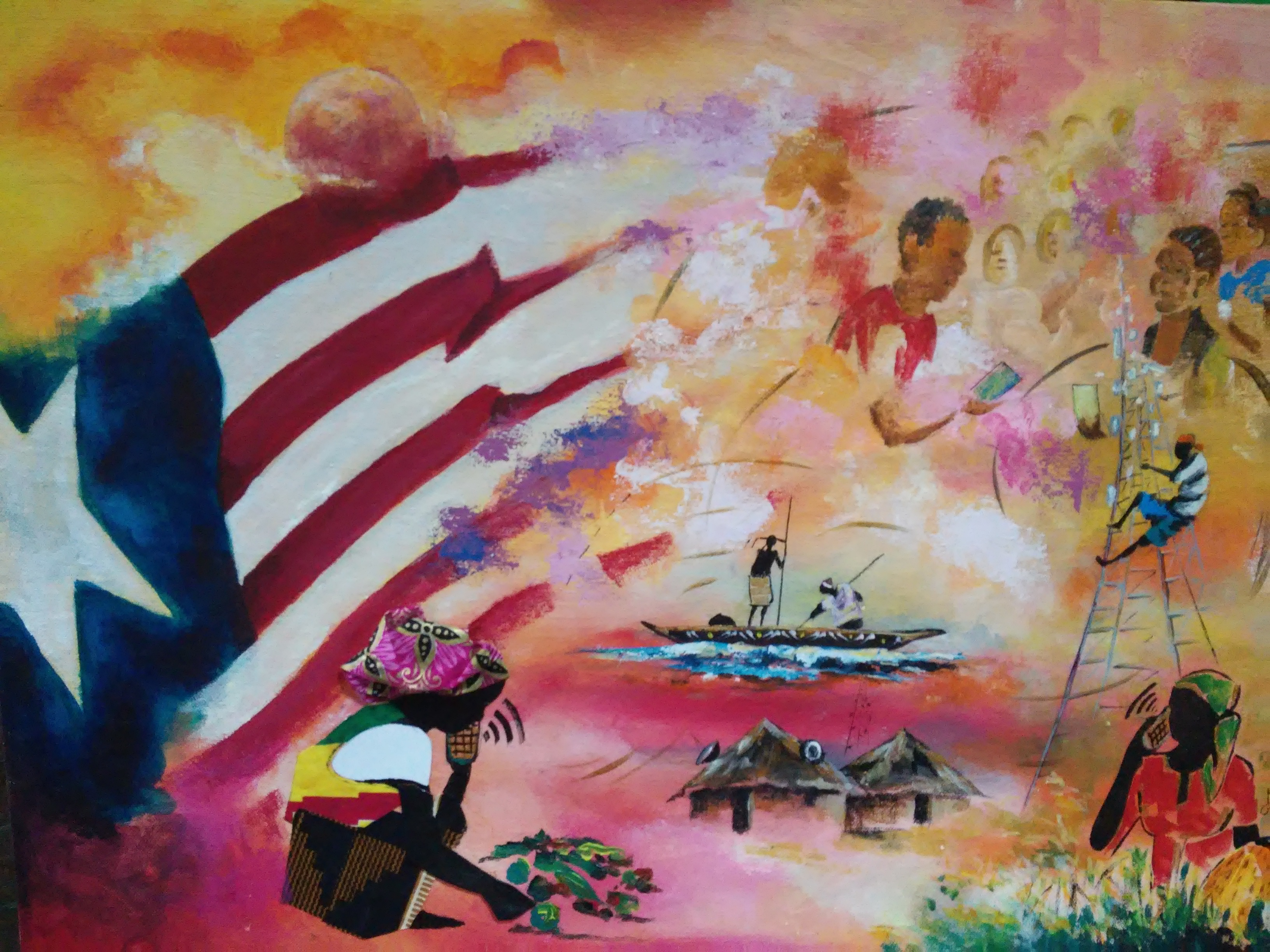 Dipinto che ho visto in una delle rarissime esposizioni d'arte a Monrovia. Rappresenta lo sviluppo in Liberia;