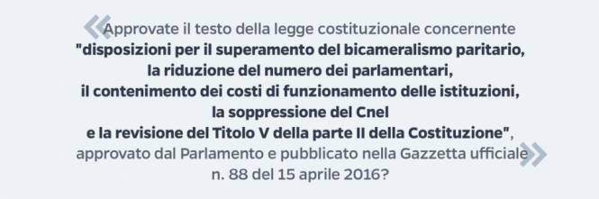 Il quesito del referendum costituzionale del 4 dicembre 2016